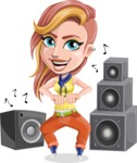 Dance Woman Vector Cartoon Character AKA Melissa - Dance with Speakers 2