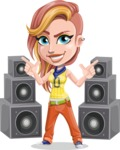 Dance Woman Vector Cartoon Character AKA Melissa - Dance with Speakers 3