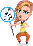 Dance Woman Vector Cartoon Character AKA Melissa - Music sign