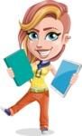 Dance Woman Vector Cartoon Character AKA Melissa - Book or Tablet
