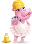Dancing Hippo Cartoon Character AKA Hippo Ballerina - as a Construction worker