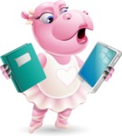 Dancing Hippo Cartoon Character AKA Hippo Ballerina - Choosing between Book and Tablet