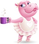 Dancing Hippo Cartoon Character AKA Hippo Ballerina - Drinking Coffee