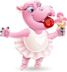 Dancing Hippo Cartoon Character AKA Hippo Ballerina - Eating icecream