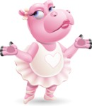 Dancing Hippo Cartoon Character AKA Hippo Ballerina - Feeling Confused