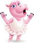Dancing Hippo Cartoon Character AKA Hippo Ballerina - Feeling Shocked