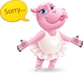 Dancing Hippo Cartoon Character AKA Hippo Ballerina - Feeling sorry