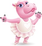 Dancing Hippo Cartoon Character AKA Hippo Ballerina - Finger pointing with angry face