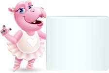 Dancing Hippo Cartoon Character AKA Hippo Ballerina - Holding a Blank sign and Pointing
