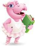 Dancing Hippo Cartoon Character AKA Hippo Ballerina - Holding a book