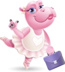 Dancing Hippo Cartoon Character AKA Hippo Ballerina - Holding a briefcase