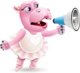 Dancing Hippo Cartoon Character AKA Hippo Ballerina - Holding a Loudspeaker