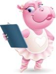 Dancing Hippo Cartoon Character AKA Hippo Ballerina - Holding a notepad