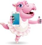 Dancing Hippo Cartoon Character AKA Hippo Ballerina - Holding a smartphone