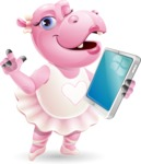 Dancing Hippo Cartoon Character AKA Hippo Ballerina - Holding an iPad