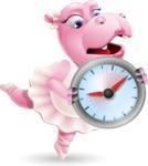 Dancing Hippo Cartoon Character AKA Hippo Ballerina - Holding clock