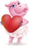 Dancing Hippo Cartoon Character AKA Hippo Ballerina - Holding heart