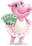 Dancing Hippo Cartoon Character AKA Hippo Ballerina - Holding Money