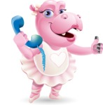 Dancing Hippo Cartoon Character AKA Hippo Ballerina - Holding phone with thumbs up