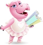 Dancing Hippo Cartoon Character AKA Hippo Ballerina - Holding Plans