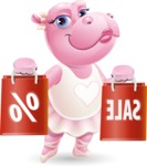 Dancing Hippo Cartoon Character AKA Hippo Ballerina - Holding shopping bags