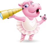 Dancing Hippo Cartoon Character AKA Hippo Ballerina - Looking through telescope