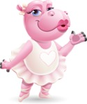Dancing Hippo Cartoon Character AKA Hippo Ballerina - Making a Duckface for a selfie