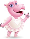 Dancing Hippo Cartoon Character AKA Hippo Ballerina - Making a point