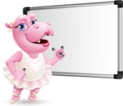 Dancing Hippo Cartoon Character AKA Hippo Ballerina - Making a Presentation on a Blank white board