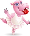 Dancing Hippo Cartoon Character AKA Hippo Ballerina - Making Funny face