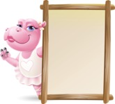 Dancing Hippo Cartoon Character AKA Hippo Ballerina - Making peace sign with Big Presentation board