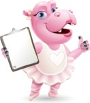 Dancing Hippo Cartoon Character AKA Hippo Ballerina - Making thumbs up with notepad