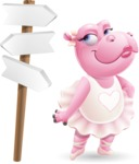 Dancing Hippo Cartoon Character AKA Hippo Ballerina - on a Crossroad with sign pointing in all directions
