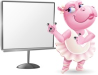 Dancing Hippo Cartoon Character AKA Hippo Ballerina - Pointing on a Blank whiteboard