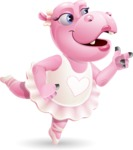 Dancing Hippo Cartoon Character AKA Hippo Ballerina - Pointing with left hand