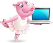 Dancing Hippo Cartoon Character AKA Hippo Ballerina - Presenting on laptop