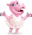 Dancing Hippo Cartoon Character AKA Hippo Ballerina - Presenting with both hands
