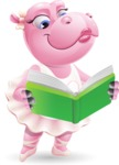 Dancing Hippo Cartoon Character AKA Hippo Ballerina - Reading a book
