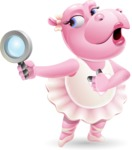 Dancing Hippo Cartoon Character AKA Hippo Ballerina - Searching with magnifying glass
