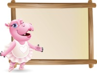 Dancing Hippo Cartoon Character AKA Hippo Ballerina - Showing on Big whiteboard