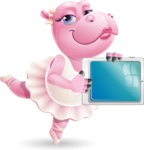 Dancing Hippo Cartoon Character AKA Hippo Ballerina - Showing tablet