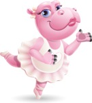 Dancing Hippo Cartoon Character AKA Hippo Ballerina - Showing with both hands