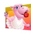 Dancing Hippo Cartoon Character AKA Hippo Ballerina - Smiling with Colorful Background