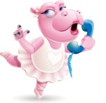 Dancing Hippo Cartoon Character AKA Hippo Ballerina - Talking on phone