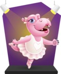 Dancing Hippo Cartoon Character AKA Hippo Ballerina - Under the Spotlight