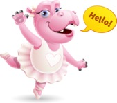 Dancing Hippo Cartoon Character AKA Hippo Ballerina - Waving for Hello with a hand