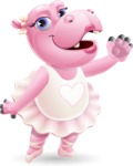 Dancing Hippo Cartoon Character AKA Hippo Ballerina - Waving