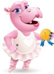 Dancing Hippo Cartoon Character AKA Hippo Ballerina - Winning prize