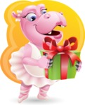 Dancing Hippo Cartoon Character AKA Hippo Ballerina - With Gift and Beautiful Background
