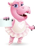 Dancing Hippo Cartoon Character AKA Hippo Ballerina - with a Blank Business card